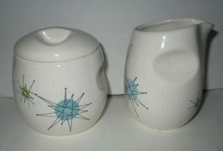 Franciscan Atomic Starburst Creamer & Covered Sugar Set