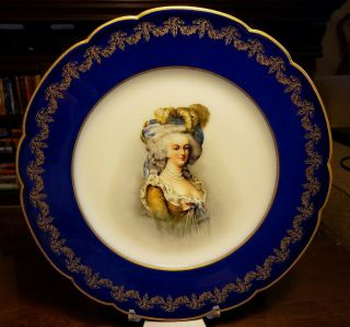 "Hand Painted Charles Martin Limoges 9 1/4 "" Artist Signed Marie Antoinette Plate"
