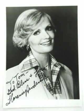 "Florence Henderson Autographed 3.  5 X 5 "" Photo Tv Actress The Brady Bunch Pc1626"