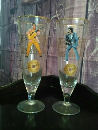 Two Highly Collectible Decorated Tall Footed Elvis Presley Glasses.