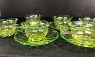 Antique Uranium Or Vaseline Glass Set Of Bowls And Dishes.  Great Color 1800s?