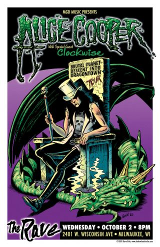 Alice Cooper Concert Poster Rare Limited Edition - Signed By Poster Artist