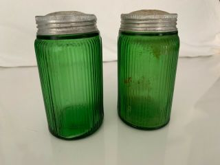 Set Of Vintage Antique Owens - Illinois Company Green Glass Spice Shakers