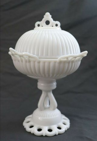 Antique Vtg Westmoreland Specialty Doric Milk Glass Tall Footed Compote Bowl