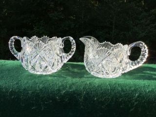 Antique American Brilliant Cut Glass Robust Cream & Sugar