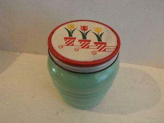 Antique Vintage Fire King Jadeite Tulip Ribbed Grease Jar