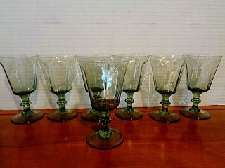 "Seven Lenox In The Antique Pattern Lt.  Green Wine Or Juice Glasses 5 "" Tall"