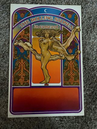 Vintage 1969 The Rolling Stones In Concert Poster 21 1/2 X 14.