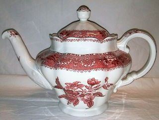"Antique Spode "" Pink Camilla "" Teapot 10.  5 "" Across X 7 "" Tall"