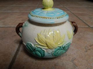 Antique England Samuel Lear Majolica Water Lily Sugar Bowl With Lid