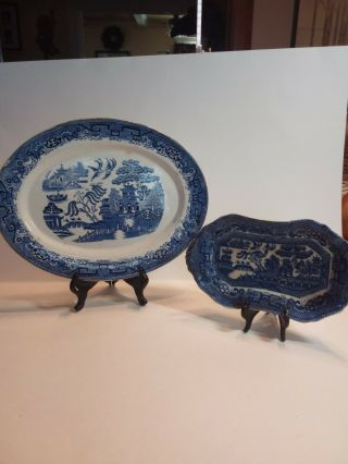 Antique Britannia Blue Willow Serving Platter / Allerton Butter Dish