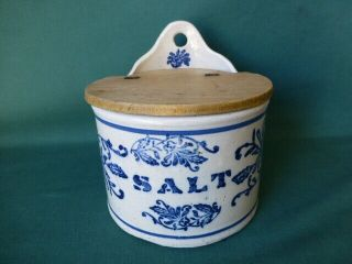Antique Wall Hanging Stoneware Blue Decorated Salt Box With Wooden Cover
