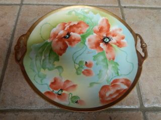 Antique Old Abbey Limoges France Hp Porcelain Art Nouveau Poppy Platter,  Server