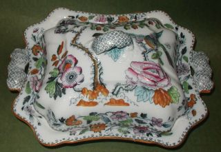 Antique Ashworth Bros Hanley Covered Serving Bowl Tureen Bird & Floral 1862 - 1890