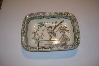 Antique Square Dish W/birds & Scenes - Aesthetic Transferware Ironstone