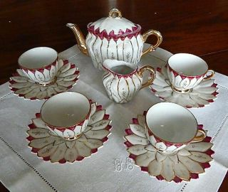 Antique German Doll Tea Set White Trimmed W/gold & Burgundy
