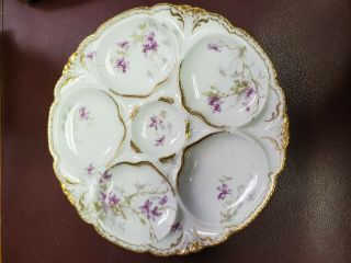 Antique Theodore Haviland Limoges Porcelain Oyster Plate Purple Foral Gold Trim