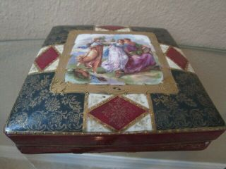 Antique Vintage Royal Vienna Porcelain Cigarette Box Gold Gilt Numbered