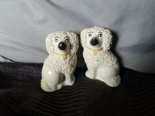 "Antique Old Staffordshire Ware England Poodle Dog Figurines Confetti 2.  75 "" Tall"
