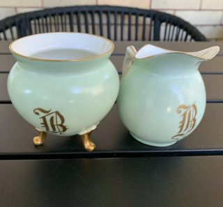 Antique Ak Limoges Klingenberg Porcelain Green Creamer Sugar Monogrammed B