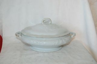Antique Ironstone Lidded Oval Dish
