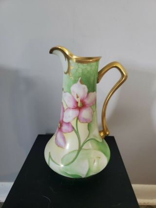Antique Limoges France Hand Painted Gold Trim Pitcher Collectible