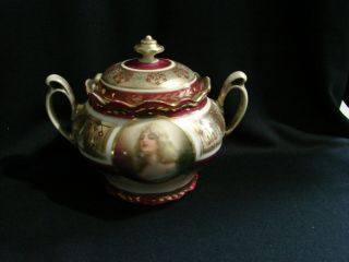 Antique Mz Austria Beehive Portrait Sugar Bowl,  Signed Constance & Numbered
