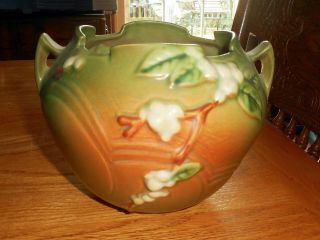 Antique Roseville Art Pottery Snowberry Rose Bowl Jardiniere 1rb - 5 Fern Green