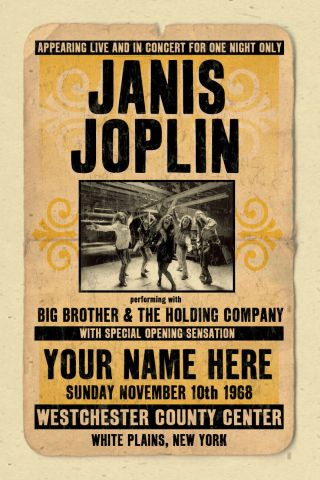 Your Name On A Janis Joplin Concert Poster Personalized Gift - Vintage Look