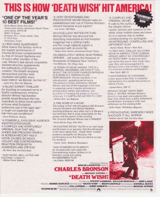 Death Wish Charles Bronson Rare Uk Full Page Ad With Reviews 1974