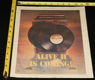 Kiss Band Alive 2 1977 Teaser Lp Album Record Promo Ad Advert Aucoin Mini Poster