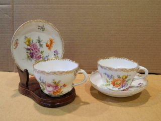 2 Rk Dresden Flowers Demitasse Cups & Saucers Scalloped Edge Gold Trim [a]