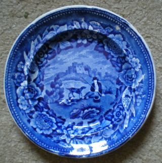 Clews Dark Blue Staffordshire Pearlware Plate Young Man With 2 Dogs Ca 1825