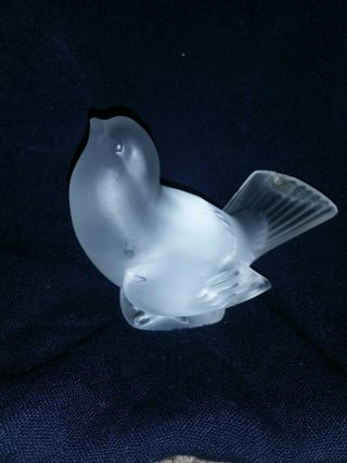 Lalique Crystal Sparrow Head Up Signed