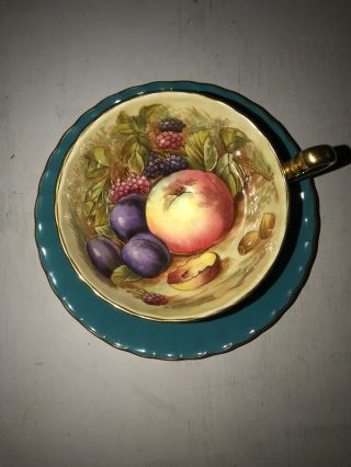 Vintage Ansley Green Orchard Fruits Fine Bone China Cup & Saucer Signed Vgc