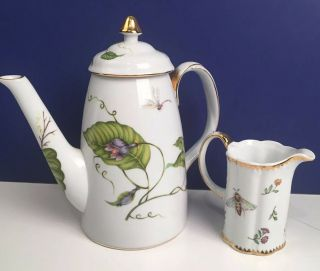 I.  Godinger & Co.  Primavera Porcelain Teapot Insects Leaves & Creamer