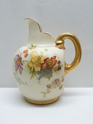 "Antique 19th C 1897 Royal Worcester China Flowers Flat Back Pitcher Jug 7½ "" Tall"