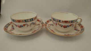 Antique / Rare Aynsley A793 Floral Swag Cups & Saucers