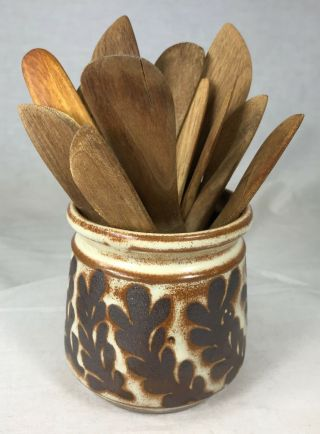 "Studio Pottery Jar 3.  5 "" Hand Crafted Signed & 13 Hand Carved Wood Spreaders 1982"
