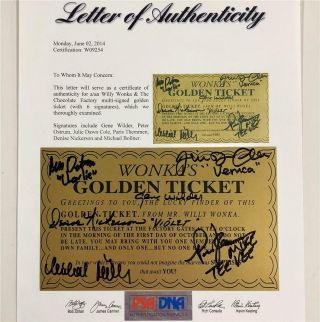 Gene Wilder,  Willy Wonka Kids Autograph Cast Signed Golden Ticket Psa Loa