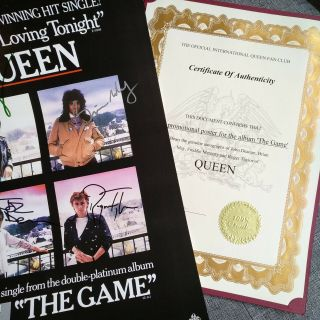 Queen Signed Autographs Freddie Mercury Brian May Taylor Deacon Promo Poster