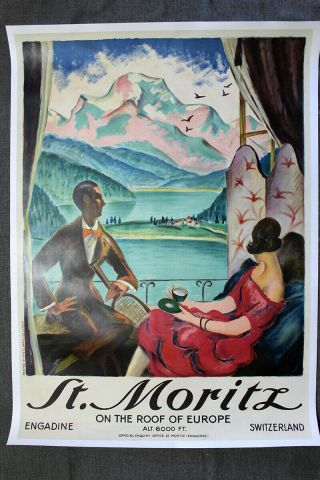 "St.  Moritz - Art By Hugo Laubi (1934) 28 "" X 39.  5 "" Swiss Travel Poster Lb"