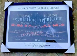 "2018 "" Reputation Tour "" Taylor Swift Signed Autograph Frame Display"