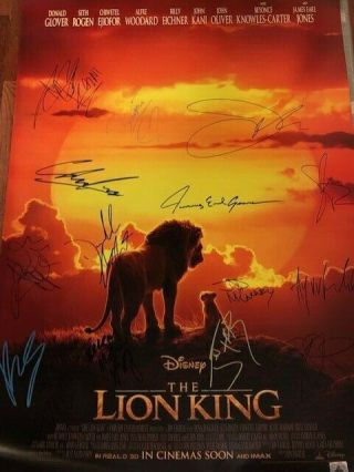The Lion King Ds Movie Poster Cast Signed Premiere Disney Simba Mufasa Beyonce