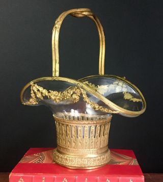 19th Century French Antique Dore Bronze Ormolu Crystal Basket Baccarat