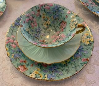 """Gorgeous Vintage Shelley,  Bone China,  """" Melody """" Chintz Cup,  Saucer And 8 """" Plate"""