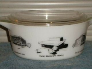 Vintage Pyrex rare HTF Lincoln Center Promotional Casserole 475 2