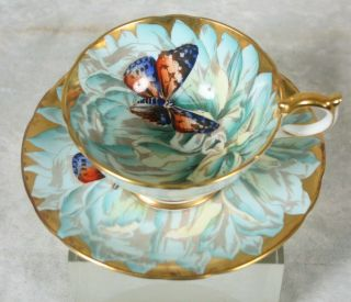 Rare Vtge Aynsley Turquoise Gold Butterfly Chysanthemum Flower Tea Cup & Saucer
