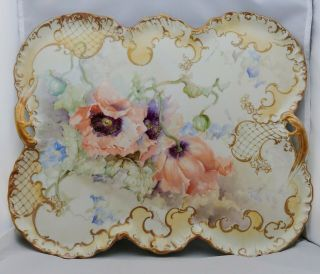 "Franz A.  Bischoff H.  P.  15 ¼"" Limoges Open Handled Tray With Apricot Poppies"