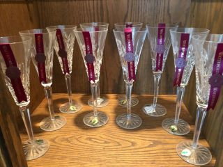 Waterford Crystal 12 Days Of Christmas Champagne Flutes Complete Set Of 12